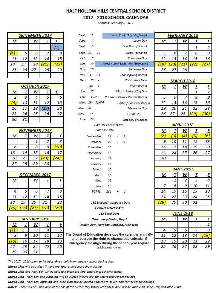 Half Hollow Hills: 2017 18 Half Hollow Hills Calendar