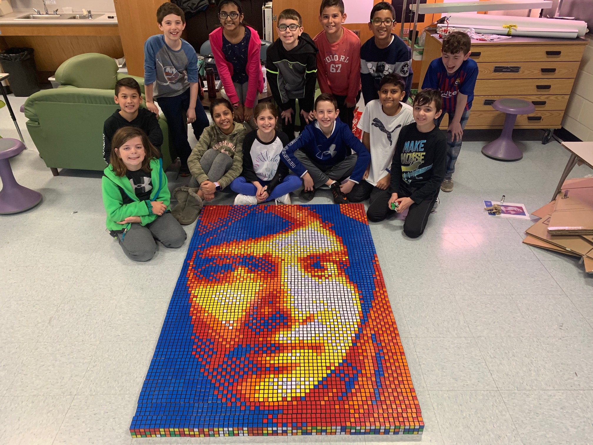 AHAP Students Celebrate Women's History Month By Creating Mosaic Of Malala Yousafzai