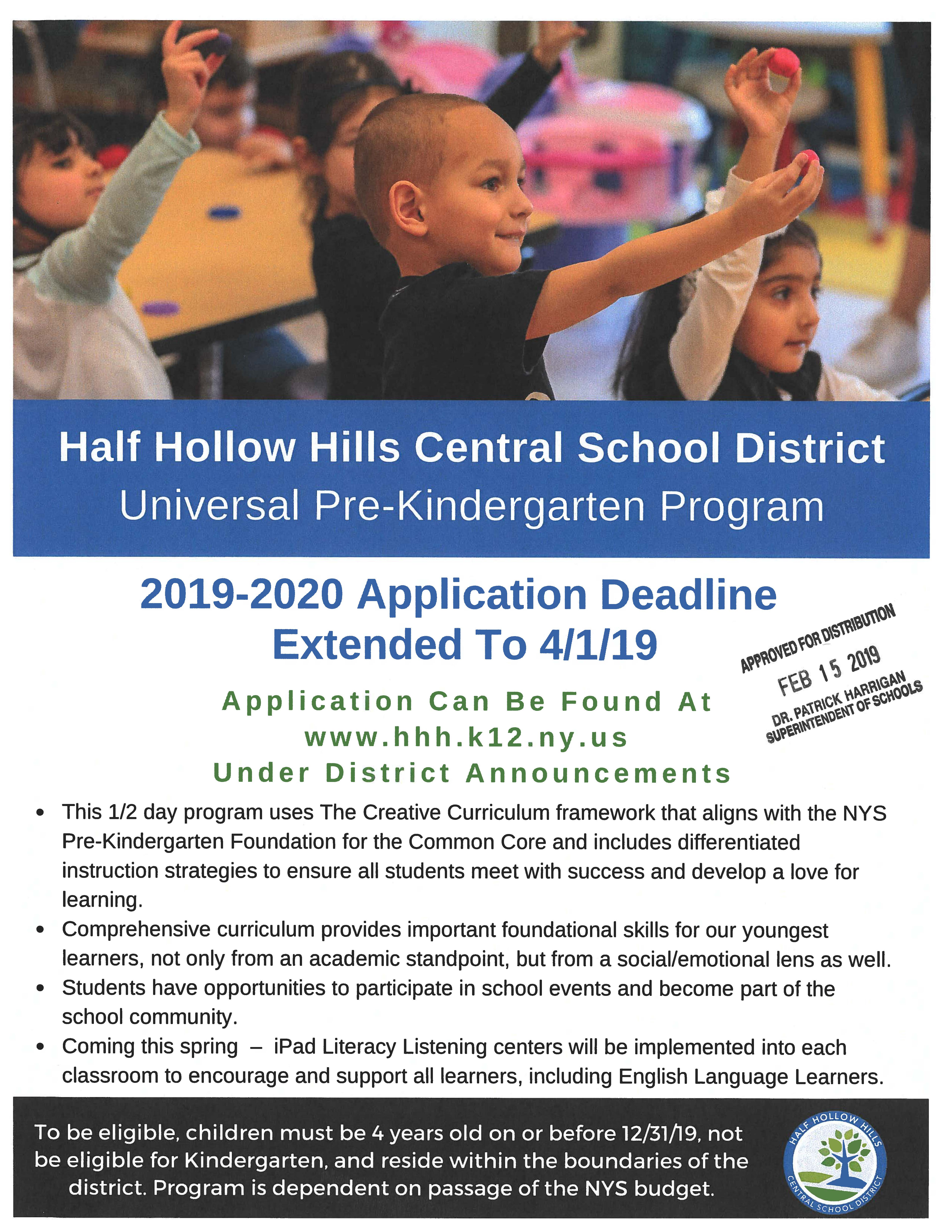 Pre-K Application Deadline Extended To 4/1/2019