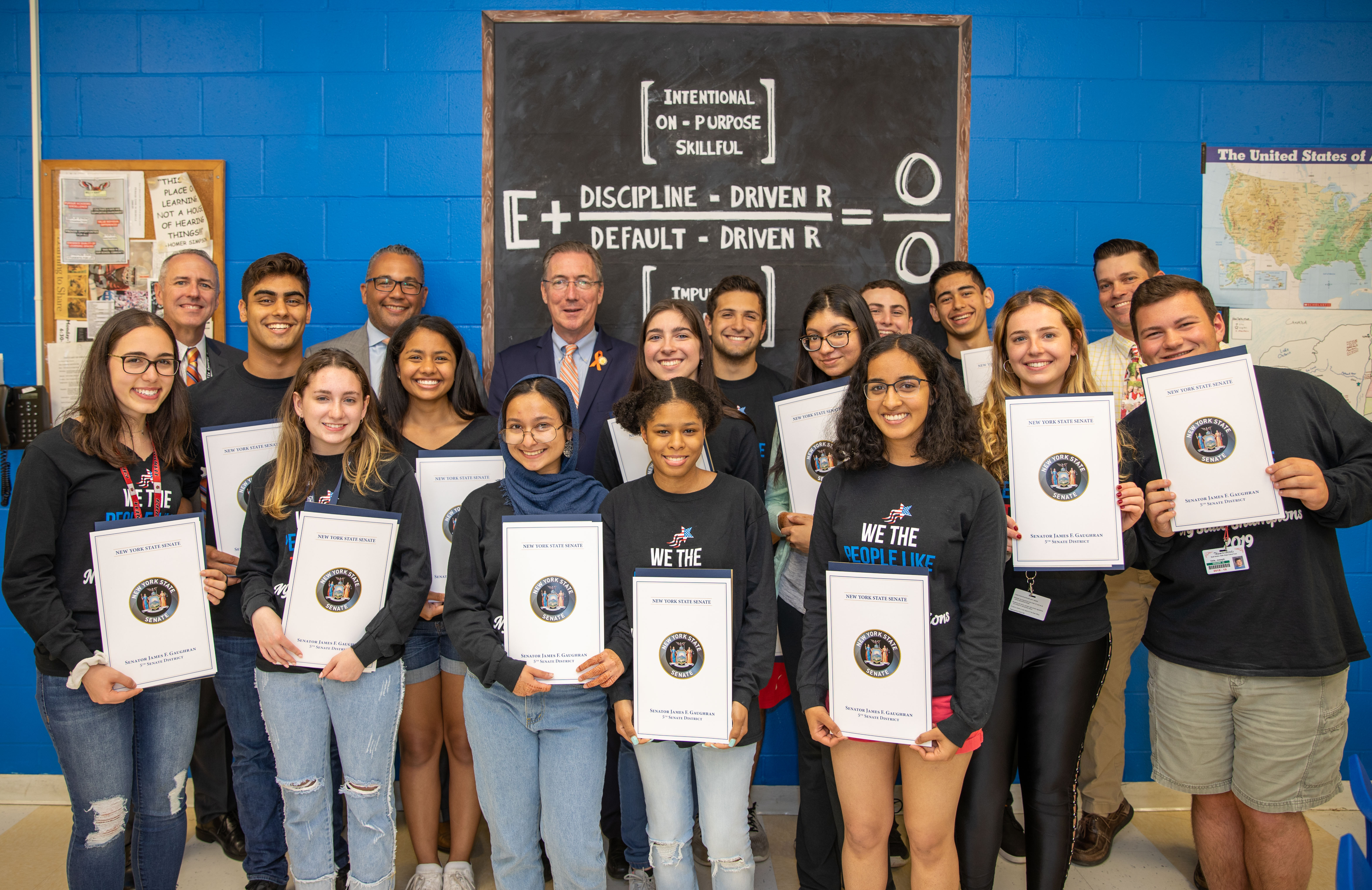 State Senator Gaughran Visits East's State Champion We The People Team