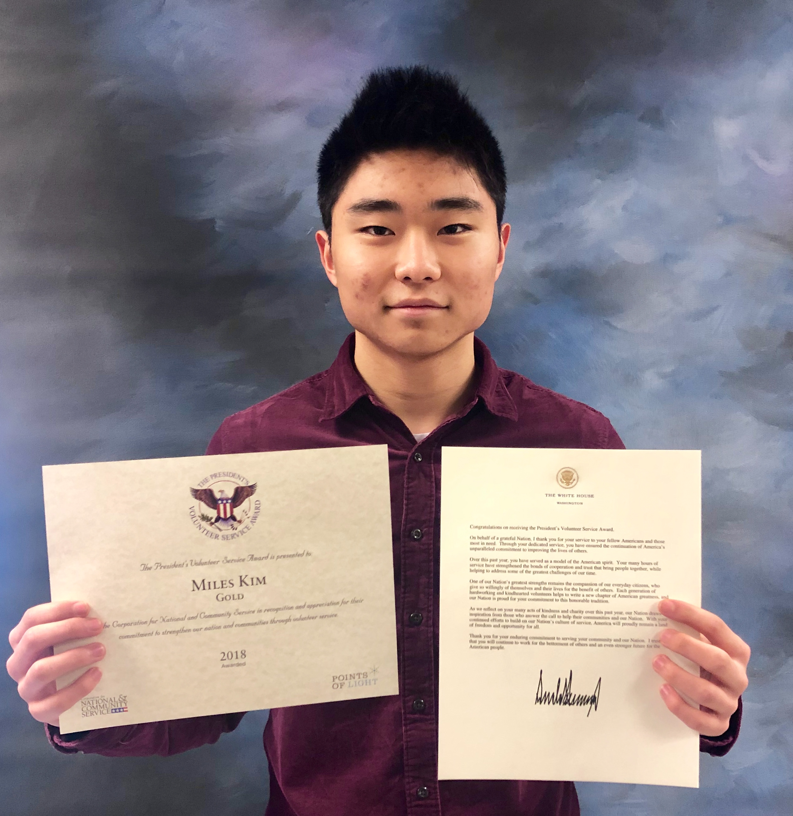 Hills West Student Receives President's Gold Volunteer Service Award