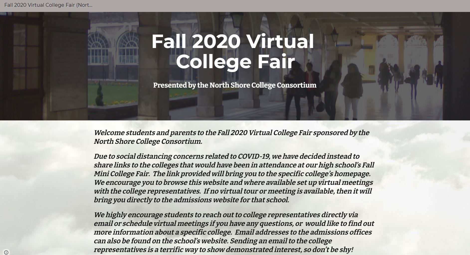 Fall 2020 Virtual College Fair For Hills East And West Students