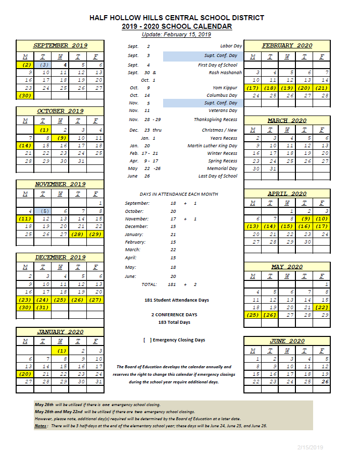 K12 Calendar 2020 2019 2020   Half Hollow Hills School District
