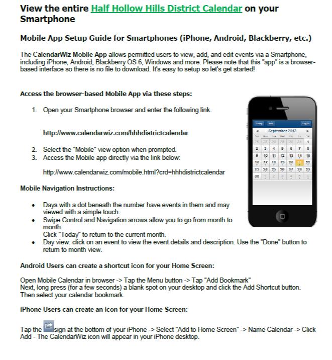 Mobile App Setup for Calendar - Half Hollow Hills School District